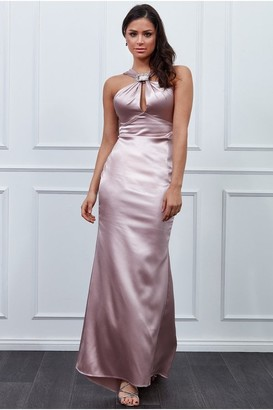 Goddiva Vicky Pattison Blush Halter Neck Buckle Maxi Dress
