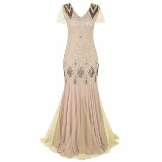 Odizli Women Vintage 1920s Flapper Gatsby Fancy Dress V Neck Art Deco Sequin Fringed Beaded Mermaid Hem Cocktail Evening Dance Party Long Maxi Prom Ball Gown with Sleeve Plus Size Black + Pink Large