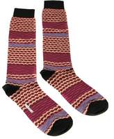 Missoni Gm00cmu5238 0002 Fuschia/tan Knee Length Socks.