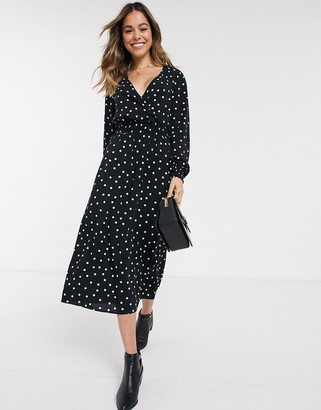 New Look shirred waist v neck maxi dress in black polka dot