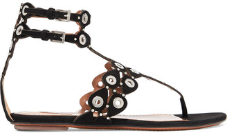 Alaia Embellished Laser-cut Suede Sandals