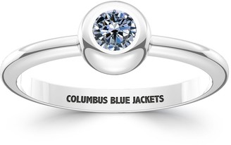 The Sporn Company Columbus Blue Jackets Engraved Sterling Silver White Sapphire Ring