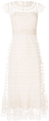 RED Valentino Tulle Heart Embroidered Long Dress