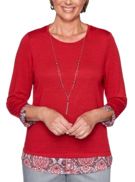 Alfred Dunner Plus Size Well Red Layered-Look Top