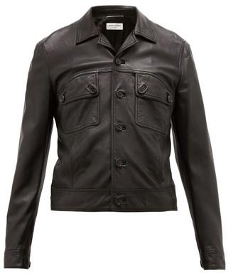Saint Laurent Flap-pocket Leather Jacket - Mens - Black