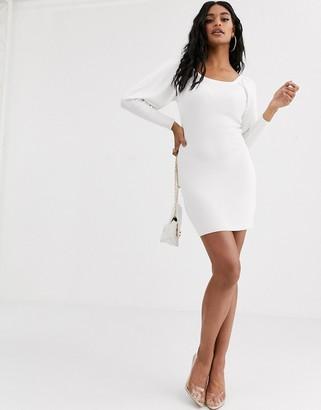 Asos DESIGN off shoulder knit dress with volume sleeve