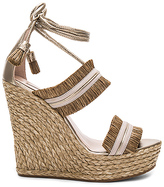 Pura Lopez Ankle Tie Wedge in Taupe