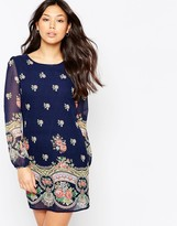 Yumi Long Sleeve Rose Print Shift Dress