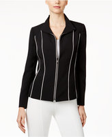 Kasper Piped Zip-Front Jacket