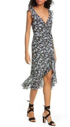 Veronica Beard Amal Ruffle Trim Silk Midi Dress