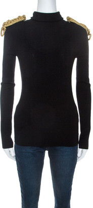 DSQUARED2 Black Wool Blend Epaulette Detail Turtle Neck Sweater L