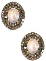 Vanhi Sterling Silver Pave Diamond Opal Stud Earring