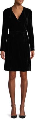 Diane von Furstenberg Julian Velvet Flare Wrap Dress