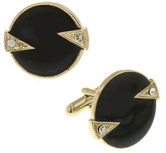 1928 Jewelry 14K Gold Plated Crystal and Enamel Round Cufflinks