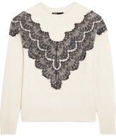 Maje Malto Lace-paneled Knitted Sweater - Cream