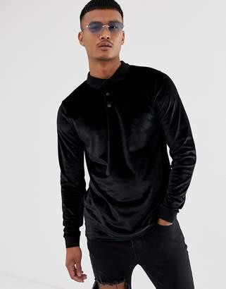 Asos Design DESIGN long sleeve polo shirt in velour in black
