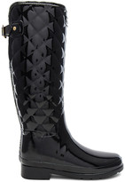 Hunter Refined Gloss Quilt Tall Boot in Black. - size 7 (also in 8,9)
