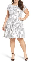 Gabby Skye Plus Size Women's Polka Dot Swirl Fit & Flare Dress