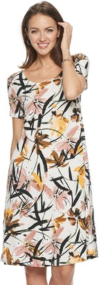 Nina Leonard Women's Print Lace-Up Back Trapeze Dress
