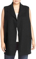 Eileen Fisher Plus Size Women's Boiled Wool Funnel Neck Vest