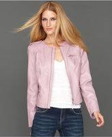 INC International Concepts Jacket, Collarless Stamped Faux-Leather Zipper-Trim