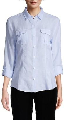 Saks Fifth Avenue Point-Collar Linen Shirt