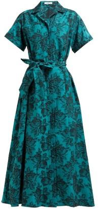 Erdem Cypress Belted Floral-jacquard Midi Shirtdress - Womens - Green Multi