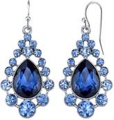 1928 Blue Simulated Crystal Teardrop Earrings