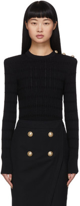 Balmain Black 3-Button Knit Sweater