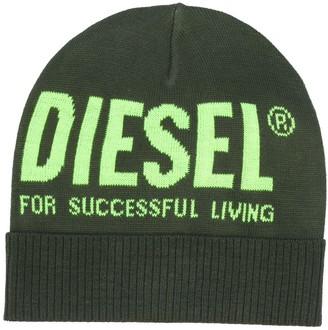 Diesel Logo Print Beanie