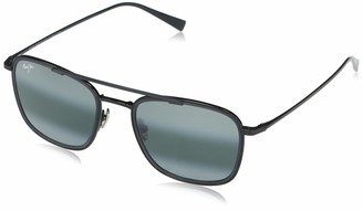 Maui Jim Sunglasses | Following Seas 555-02 | Black Gloss W/Black Matte Rim Aviator Frame Frame Polarized Neutral Grey Lenses with Patented PolarizedPlus2 Lens Technology