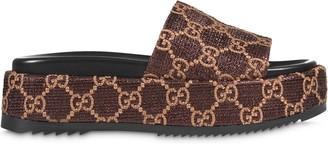 Gucci GG lame slide sandals