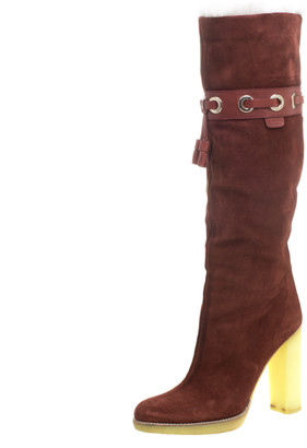 Gucci Maroon Suede Fur Lined Knee High Boots Size 38