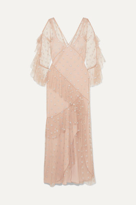 Temperley London Fortuna Ruffled Glittered Tulle Gown - Beige
