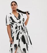 Asos DESIGN Curve mono smudge wrap midi dress