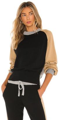 Monrow Color Block Mock Neck Sweater