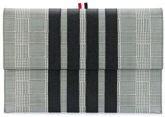 Thom Browne pebbled Prince of Wales print clutch