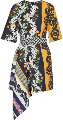 Oscar de la Renta Asymmetric Belted Printed Wool-twill Mini Dress
