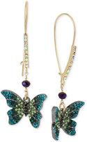 Betsey Johnson Two-Tone Pavé Butterfly Drop Earrings