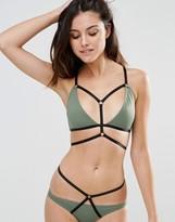 Asos Elastic Harness Contrast Triangle Bikini Top