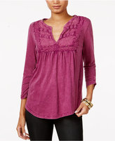 Lucky Brand Ruched Lace-Bib Top