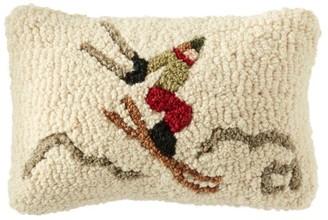 L.L. Bean Wool Hooked Throw Pillow, Ski Jumper