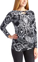 Glam Black & White Paisley Twist-Cutout Maternity Long-Sleeve Top