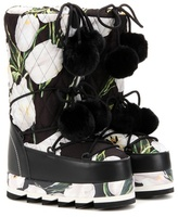 Dolce & Gabbana Floral-printed Platform Boots With Fur
