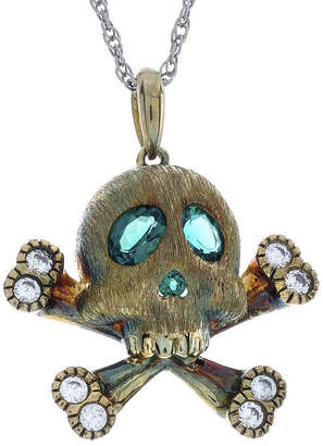 FINE JEWELRY Simulated Emerald and Lab-Created White Sapphire Skull and Crossbones Pendant Necklace
