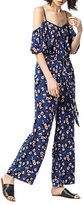 Warehouse Mae Floral Print Jumpsuit, Blue Pattern
