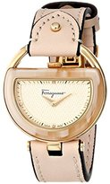Salvatore Ferragamo Women's FG5070014 Diamond-Accented Stainless Steel Watch with Beige Leather Band