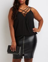 Charlotte Russe Plus Size Caged Surplice Tank Top