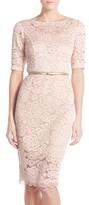 Ellen Tracy Petite Women's Belted Lace Sheath Dress