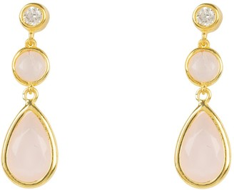 Latelita Tuscany Gemstone Drop Earring Gold Rose Quartz